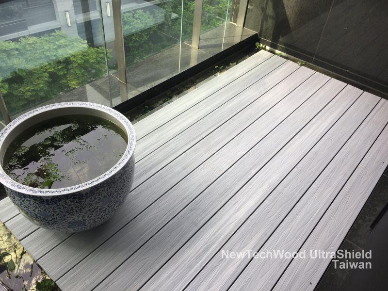 綠建材-塑木-煙灰白-使用一年-陽台-生態池-設計