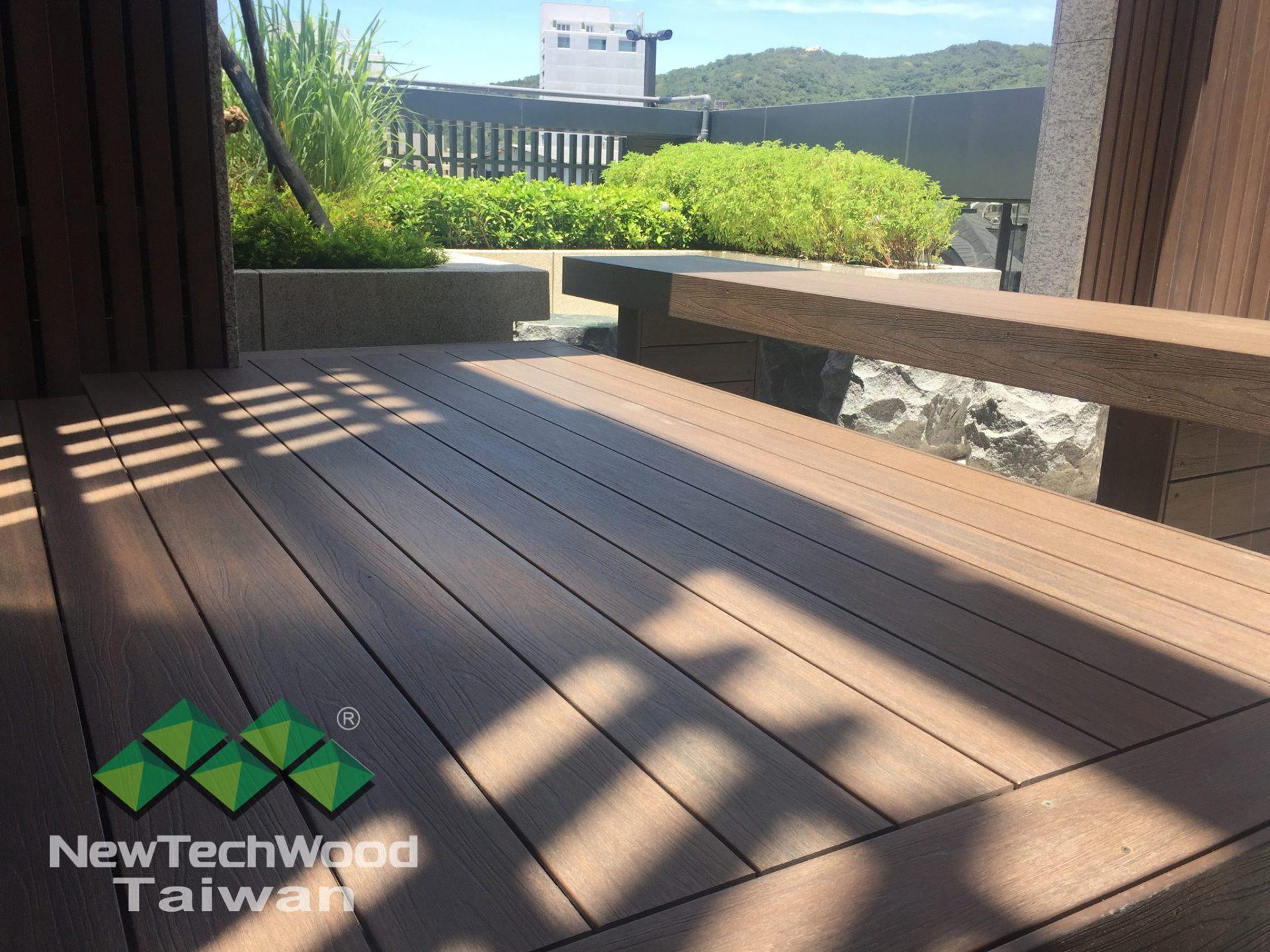 綠建材-塑木-胡桃木-景觀設計-公設美化-活動平台-長椅-不鏽鋼骨架-管線遮蔽-信義謙石