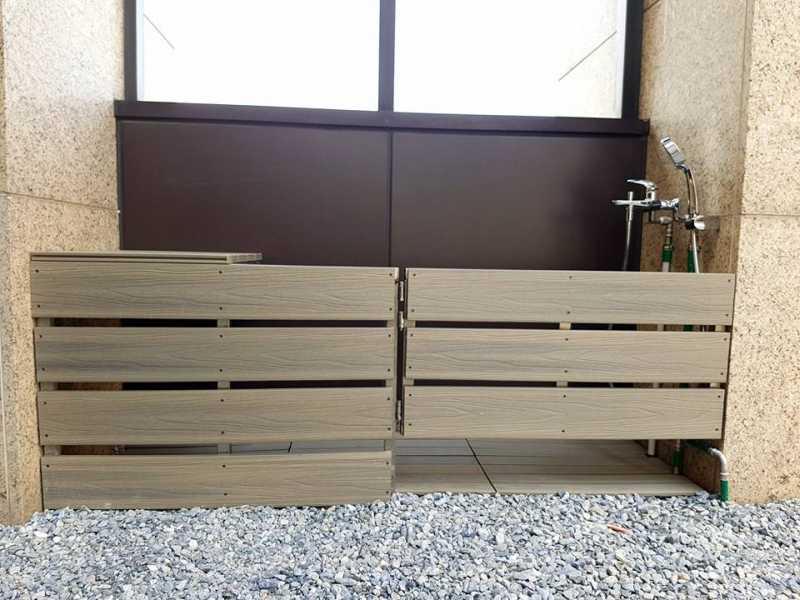 綠建材-塑木-柚木色-不鏽鋼骨架-禾舍景觀-寵物圍籬-門板-格柵-立面-柵欄