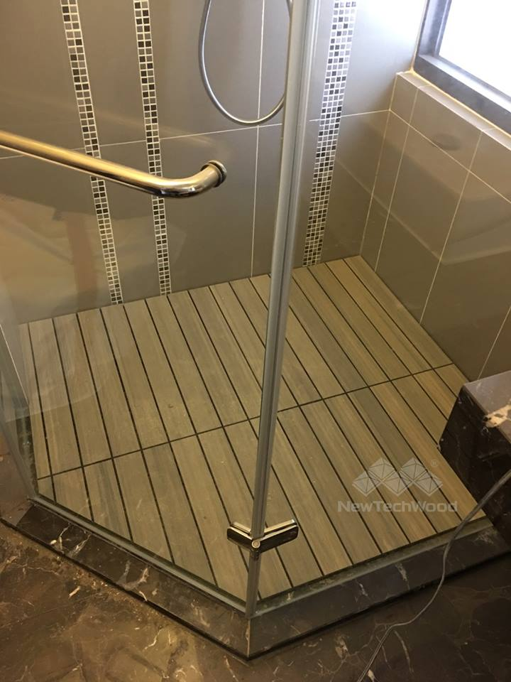 塑木-快組-簡易拼裝-柚木色-浴室-安全-防滑地板