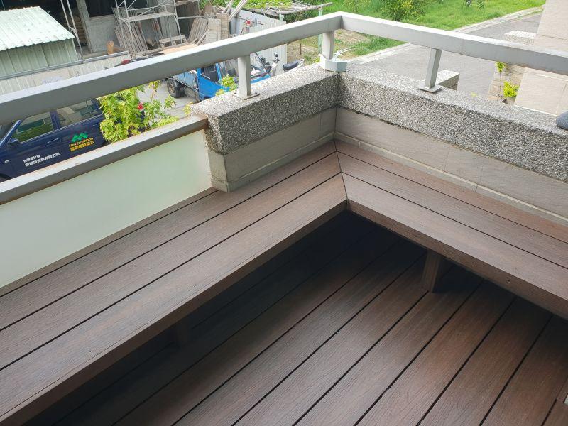 綠建材-塑木-胡桃木色-不鏽鋼骨架-陽台-露臺-景觀座椅