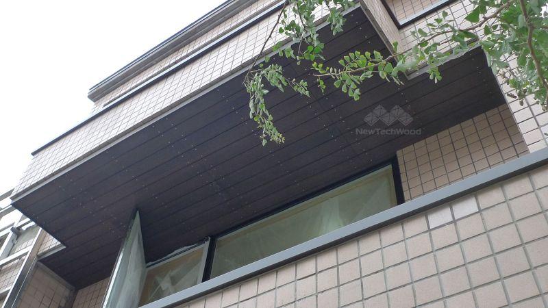 綠建材-塑木-胡桃木色-不鏽鋼骨架-陽台天花-