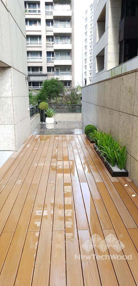 綠建材-塑木-不鏽鋼骨架-柚木色-露台-內湖-禾舍景觀-