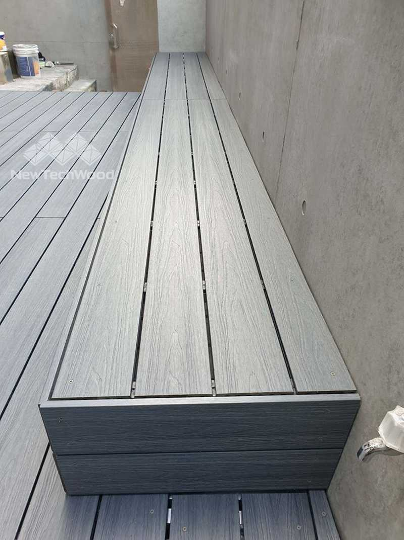 綠建材-塑木-淺灰色-陽台-露台-景觀家具-塑木座椅-清水模