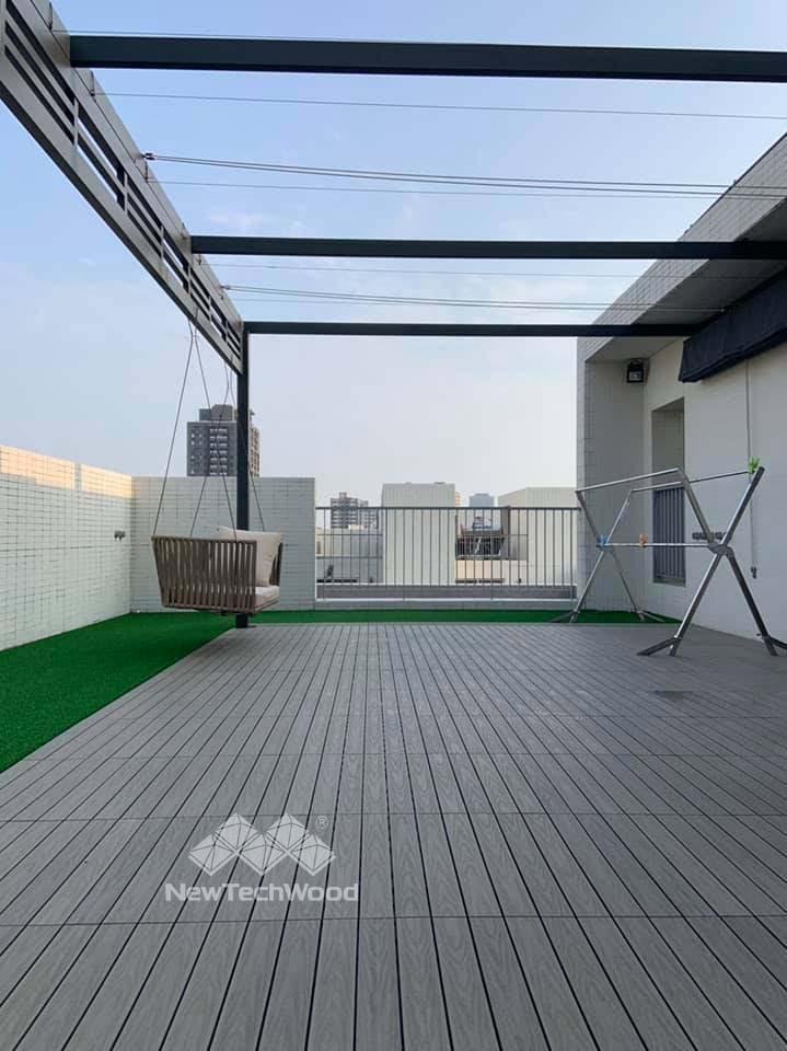 塑木-快組-巧拼地板-簡易拼裝-古木色-30*90-陽台-露台-防水-防滑-防黴