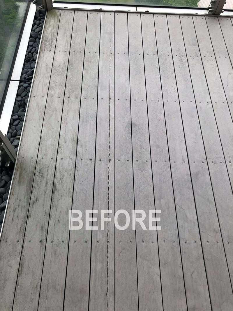 龜裂變形塑木汰換-綠建材-塑木-古木色-陽台-露台-翔協室內裝修-信義聯勤