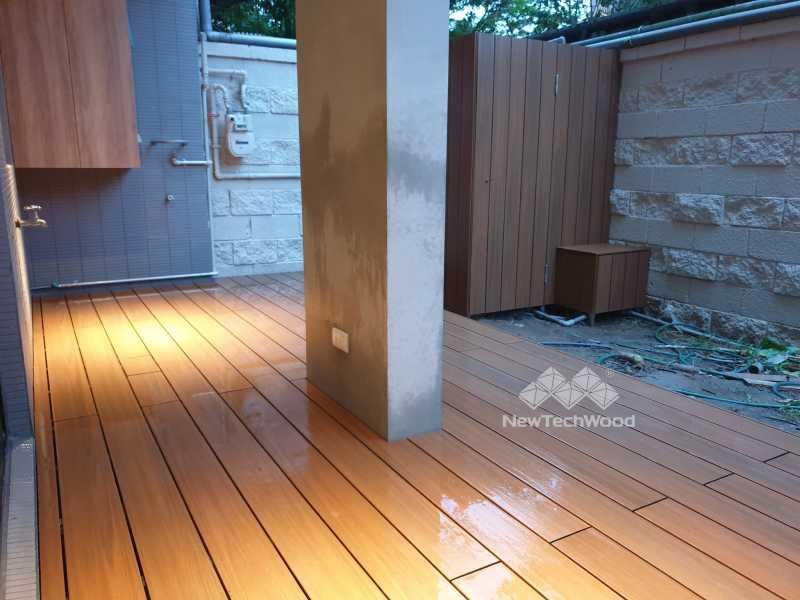 綠建材-塑木-柚木色-庭院-陽台-露台-立面-水塔包覆-禾觀空間設計-林口