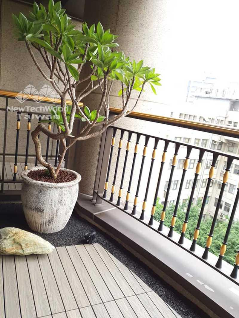 弧形景觀陽台-塑木與植栽造景