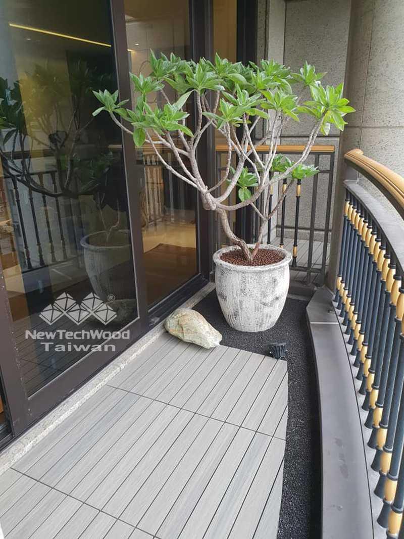 弧形景觀陽台-塑木地板