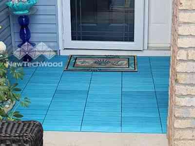 塑木快組地板-天藍色