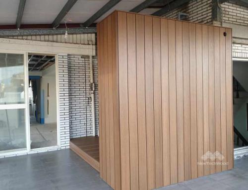 打造舒適的曬衣收納空間|塑木平台牆面與置物架