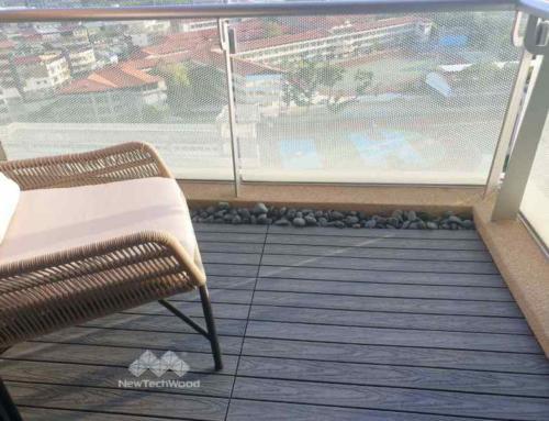 社區公設的緣分-陽台淺灰色塑木地板