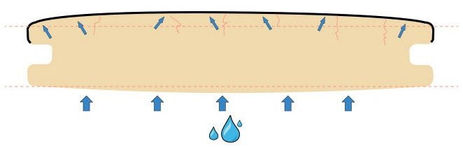 吸水膨脹和彎曲變型