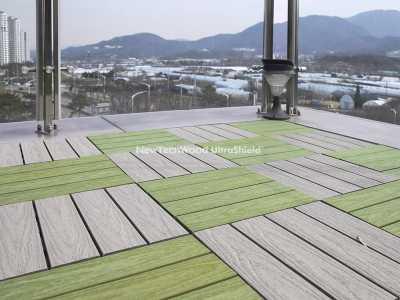 美新塑木快組地板-春綠色淺灰色混色