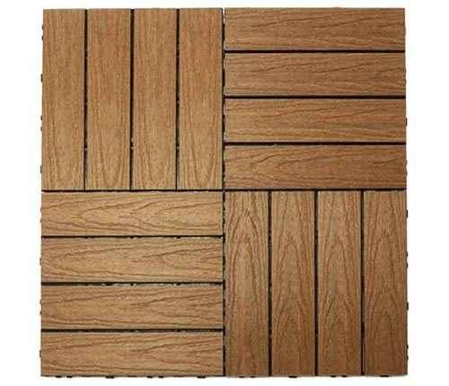 美新塑木快組地板-交錯拼法