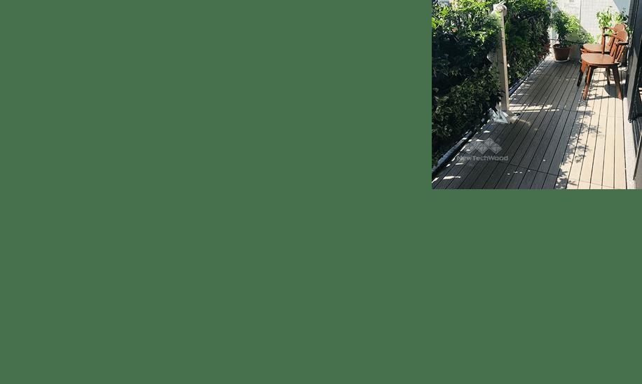 美新塑木快組地板-陽台牆面綠化